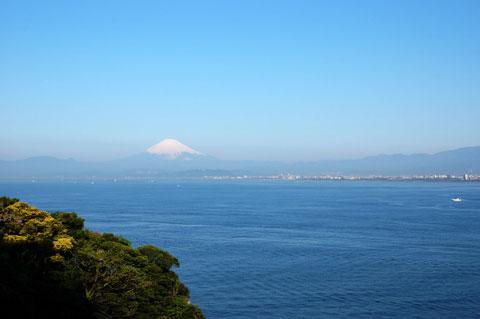 江ノ島のてっぺん(付近)から見た富士山。おぉぉ,絶景なり~。しかしレンズは35mm一本。