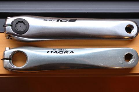 TIAGRAと105クランク。どっちがカッコイイかというと,ちょいと微妙......。