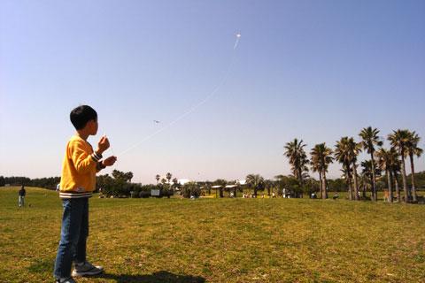 お~,やっぱりいい風が吹いている! みんなで作った和凧が空高く飛んでいく~
