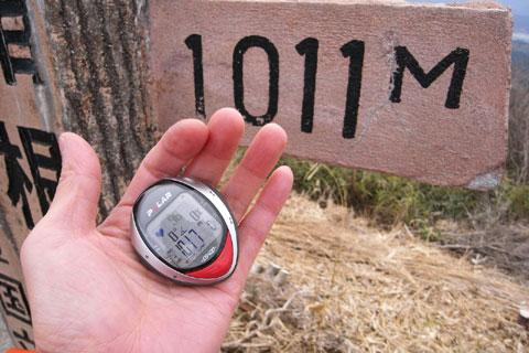 海抜1011m!! 例によってポラー心拍計はちょいとサバ読んでいます(^^)