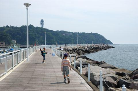 釣り場は,つい最近,新江ノ島水族館の前にできたばっかりの堤防。魚釣りエリアがあるのです♪