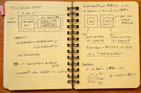 左半分は検索ボタン付近,右半分は当ブログのシンボル(?)過去記事アイコンの設計の一部。