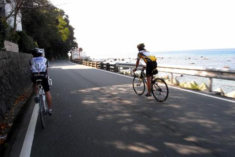 西伊豆の海岸は通行量もアップダウンも少なく,軽いサイクリングにはぴったり。