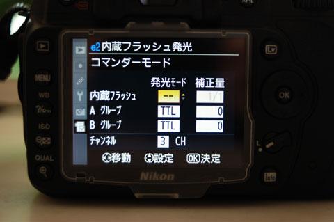 内蔵+外部2グループ,合計3グループのスピードライトを調光できます。