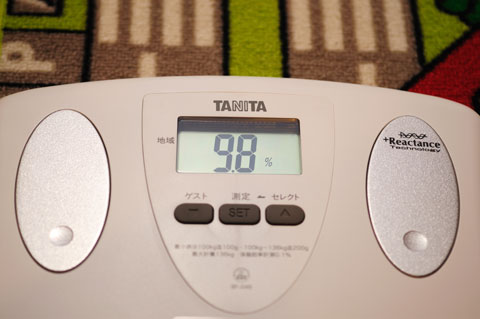 なんど測っても,体脂肪率10%未満。どこか壊れてるのかな?(もちろん,おいらのカラダの方)