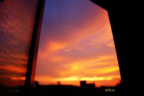 全然関係ないけど,家の窓からみた夕焼け。まぶしかですたい。