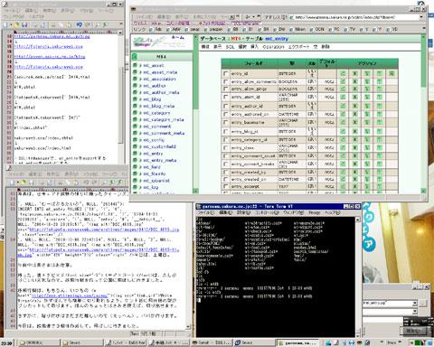 作業中の様子。エディタ,テキストコンバータ,サーバコンソール,データベースコンソール・・・。