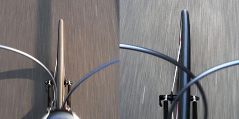 左がPRO3。右はPanaracerで,いずれも新品時。Panaracerが極端に尖っていることが分かります。