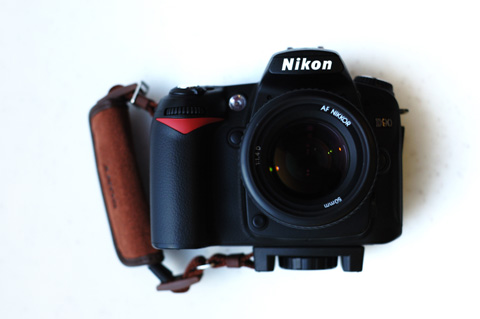 おや? 我がD90に見慣れないストラップが付いている。しかも,Nikonらしからぬデザイン(笑)