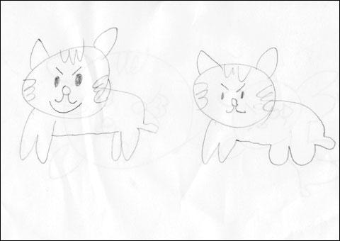 長男(ユウキチ)が描いた来年の干支(寅)。ごろにゃ~ん,ネコなのである(^^)