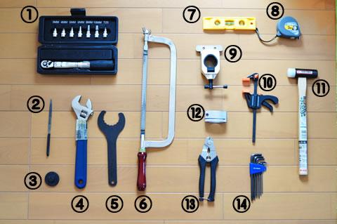 これが全工具です。多いようでいて,意外と少ないか・・・?