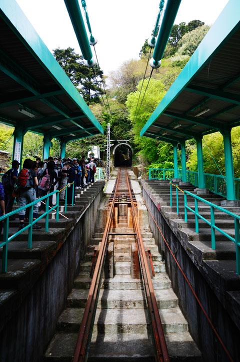 ケーブルカーの山麓駅。これで,ぐんぐん上るのだ!