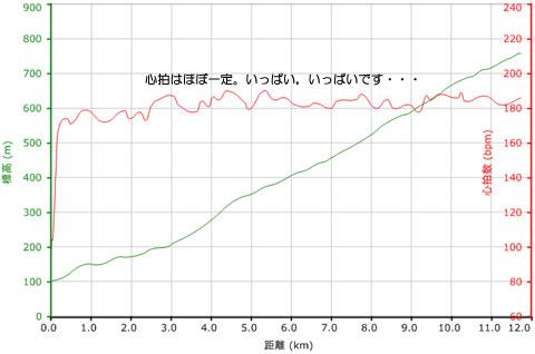 たいてい,こんな心拍グラフです(これは6月のとき)。190bpm近くまで回っています。