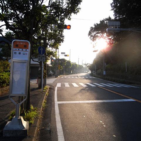 源氏山ミニTTスタート地点,「梶原バス停」信号交差点の向こう側の信号機で計測開始です♪