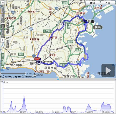 今回のコース。ちょっと,金沢八景周辺で遠回りしすぎたかな?