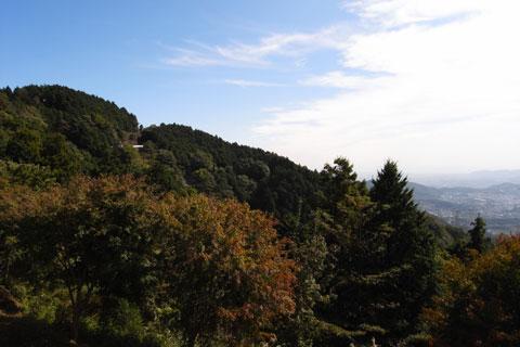 素晴らしい秋晴れ。なんで,こんな日に,こんな苦しい山登りを・・・(笑)左の山腹に見える白いガードレールの先がヤビツ頂上と思われます。