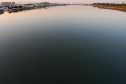 本日のラスト。鏡のような相模川河口。