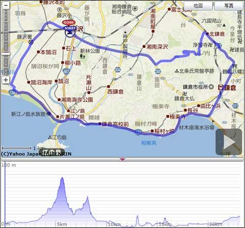 本日のMV32T初乗りコース。途中の山は源氏山です。