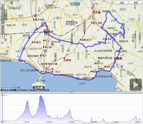 本日のコース。基本の鎌倉一周に,今泉台の激坂コースを追加(^^)