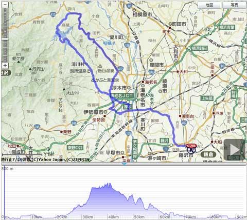 本日のコース。富士山一周250km → 宮ヶ瀬一周90kmに大幅縮小。