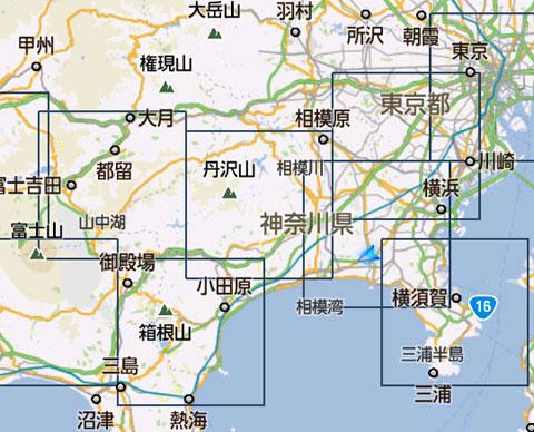 四角で囲まれた区画が16km×16km。9区画ダウンロードで,おいらの生息範囲はほぼ網羅できてしまいました(笑)