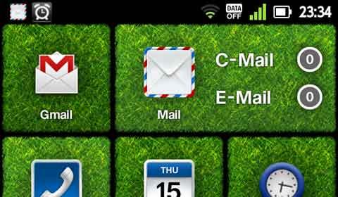 左上の通知領域にある小さなアイコン(時計の左)が,「未読メールがあるよ」という合図。着信したことは分かるけど,表題も中身もわからない。