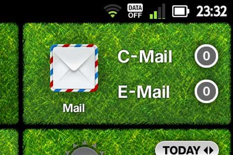 3GをOFFにしている(画面上部の「DATA OFF」)と,メール着信が分かりません。「E-Mail 0」なんて,デカデカと表示していますが,実は未読がたっぷりあります・・・。