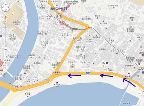 片瀬東浜の先が通行止め。右折することになりました。