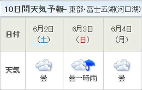 いつの間にか,日曜日だけに「雨」マークが・・・(ひどい~)