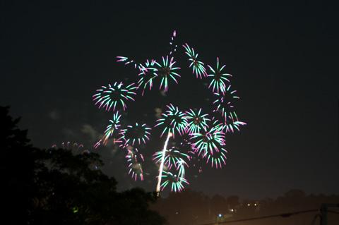 トリミングして拡大すると,こんな感じ。夜空のねずみ花火でした。