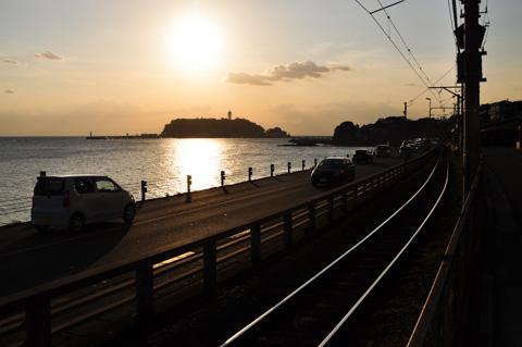 江ノ電の線路を撮ってみる。ちょっと,撮り鉄気分(^^)
