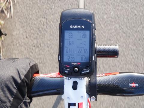 勾配-1%,心拍120bpmで16km/hしか出ていない(笑)