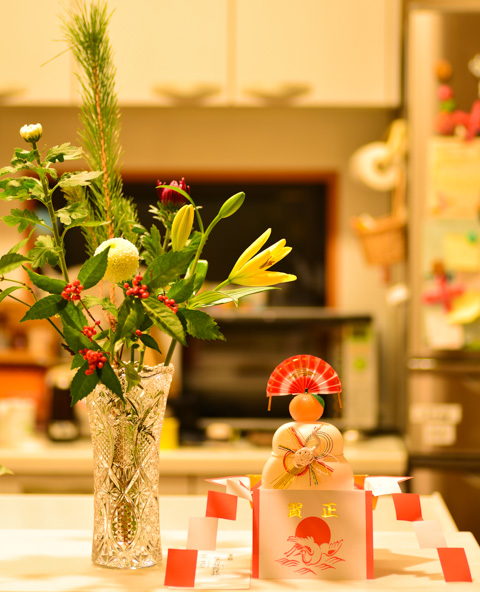 あけましておめでとうございます。今年はこじんまり飾りつけ(^^)