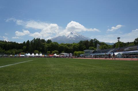 下山後の北麓公園から見た富士山。また来年来るからね~