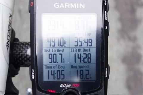 FH210kmのときの表示。残り90kmを23分で走るって・・・。