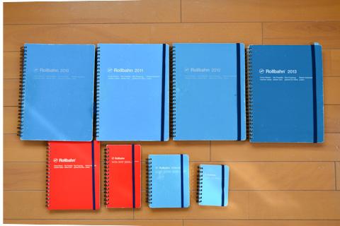 手元に残っていた「Rollbahn」手帳たち。メモ好きの人には本当に便利(^^)