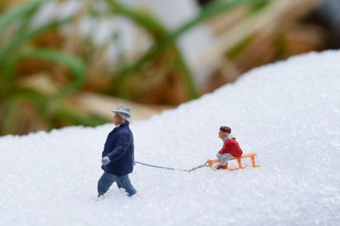 やっと,本物の雪でできました(^^)