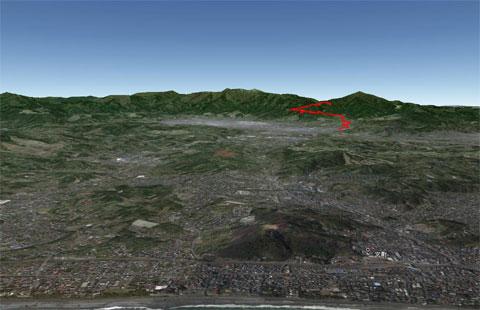 おぉ~,あっさりとできた! 相模湾上空から見たヤビツ峠(を上った,おいらの軌跡)