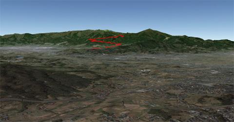 赤いのが(ゼーハー言いながら)上ったヤビツ峠への軌跡。