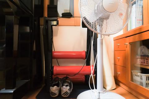シーズン中は,リビングの一角にローラーセット(ローラー台,シューズ,扇風機,マット)を置いていました。