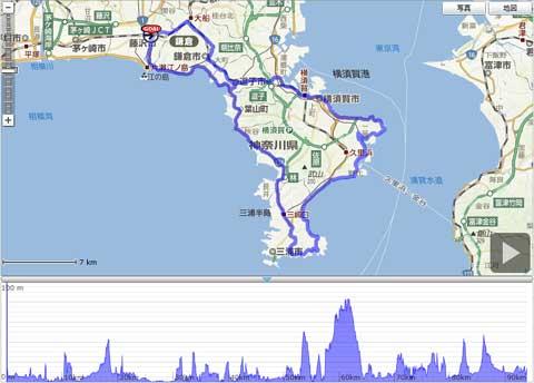 藤沢を出て,ぐるっと三浦半島一周でちょうど100kmです。