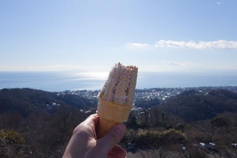 相模湾や富士山を見ながら食べるソフトクリームは最高! ソフトどころか,超ハードでしたが・・・。