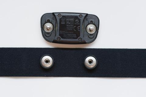 上がセンサー部。下がPOLARのベルト。微妙に,POLARの方が端子間隔が広いです。