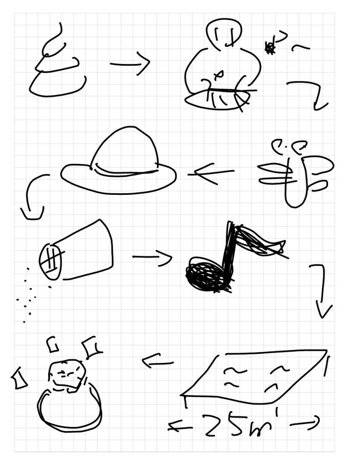 う○こ→琴→トンボ→帽子→塩→音符→プール→ルビー。「プール」が素晴らしい。