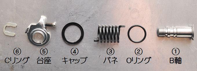 「B軸一式」の全パーツ。この番号で説明していきましょう。