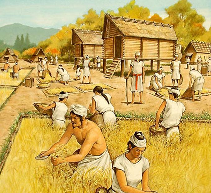 当時の日本(弥生時代)の人々の様子。奥に見えるのが,イトーヨーカドー湘南台店と思われる(んなアホな)