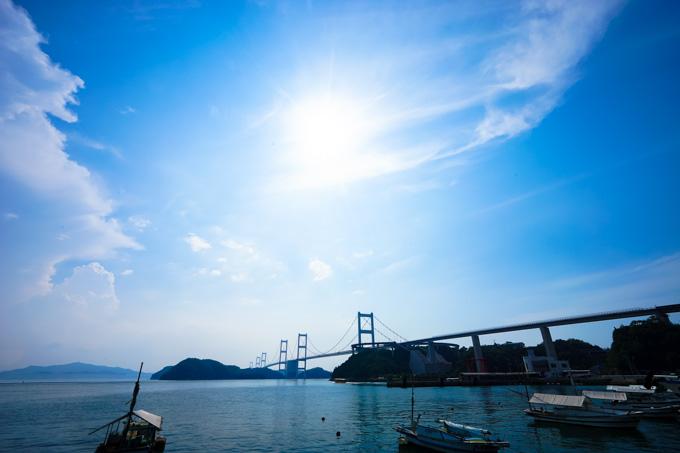 大島側から見た来島海峡大橋。さて,これからわたって四国に戻るよ~