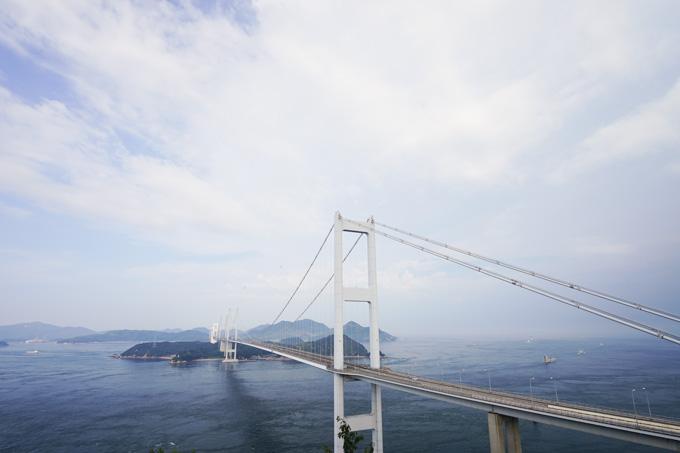 今治から見た来島海峡大橋。1日目は,これを渡って大島へ! 【しまなみフォトアルバムはこちら~!】