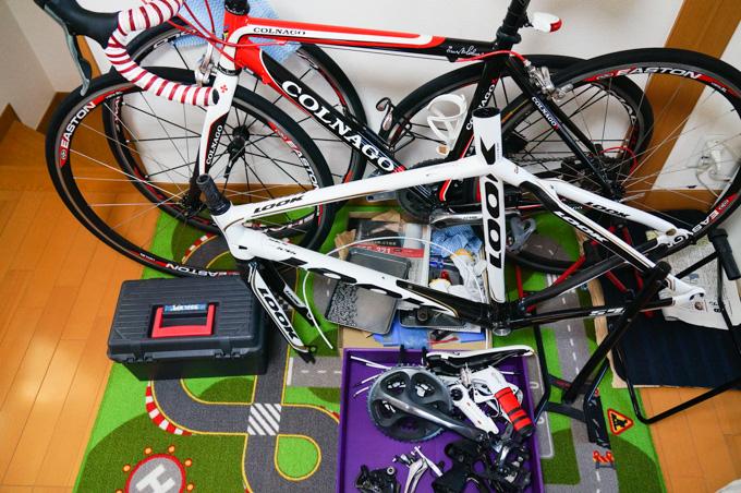 色んなパーツ・自転車がゴチャゴチャに。LGS RHC号はリビングに避難中デス(^^)