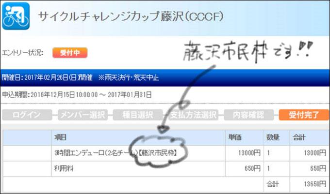 藤沢市民の優先枠でエントリー完了! (そんなに人気あるっけ・・・?笑)
